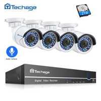 Techage 8CH 1080 P POE NVR CCTV, sistema de seguridad con 4 piezas 2.0MP registro de Audio cámara IP IR P2P Video al aire libre kit de vigilancia de 2 TB HDD