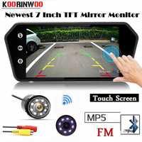 Koorinwoo HD 1024*600 Monitor del coche pantalla táctil multimedia pantalla espejo Bluetooth USB TF MP5 FM posterior del coche del estacionamiento cámara de visión sensores