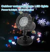 12 petterns movimiento impermeable nieve láser proyector lámpara copo de nieve LED Año Nuevo Partido Navidad luces lámpara de jardín al aire libre
