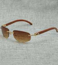 Gafas de sol Vintage Maroon madera tendencia clásica diseño Simple gafas de sol de moda con estilo gafas de sol para hombre sin montura