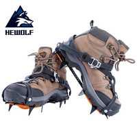 Hewolf 10-los dientes Crampon de acero de manganeso agarre hielo crampones hielo nieve Junta esquí escalada antideslizante zapatos al aire libre herramientas