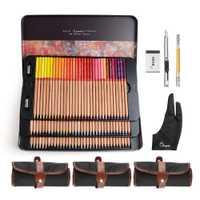 Marco Renoir Fine Art Professionnel Crayons de couleur 100 Couleur Set + 3 Rouleau Sac + Anti-fouling Deux-doigt Gant