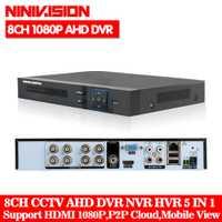 NINIVISION HD CCTV 8CH AHD 1080 p DVR de vigilancia NVR 8 canal AHD-H 1080 p HDMI independiente de seguridad 3G WIFI DVR grabador de vídeo