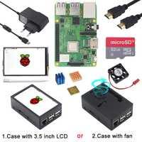 Raspberry Pi 3 Modelo B, modelo B +, kit de iniciación con WiFi y Bluetooth + ABS + Fan/3,5 pulgadas 800*480 pantalla táctil + disipador de calor enfriador Pi 3B +