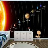 Mural planetas en Sistema Solar Mural 3D 3D papel tapiz para dormitorio infantil