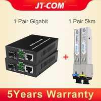 2 piezas Gigabit convertidor de medios transceptor SFP módulo 5 km 1000 Mbps rápido Ethernet RJ45 de fibra óptica interruptor 2 puerto SC de modo único