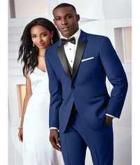 Nueva moda azul oscuro boda trajes 2 unidades hombres trajes Slim Fit (chaqueta + Pantalones + corbata) novio esmoquin novio trajes de negocios