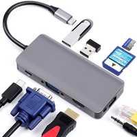 9-en-1 USB 3,0 tipo C HUB USB-C a HDMI 4 K SD/TF lector de tarjeta la policía de carga de adaptador de Ethernet Dongle para MacBook Pro Dock adaptador
