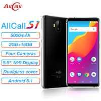Allcall S1 MTK6580 Quad Core 2 GB 16 GB Android 8,1 18:9 5,5 pulgadas cuatro cámaras 8MP + 2 MPRear cámara Dual 5000 mAh 3G Smartphone