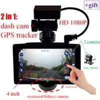 2 en 1 coche DVR 1080 P 4 pulgadas Dual cámaras GPS envenenar rastreador GPS G-sensor de visión nocturna pantalla táctil dash cam envío gratis