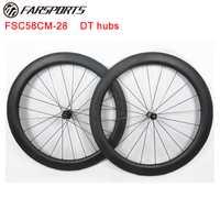 18 meses de garantía 700C 58mm x 28mm ruedas de carbono para bicicleta de carretera con DT 350 hub farsports profesional ruedas constructor