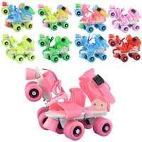 Los niños patines doble fila 4 ruedas de tamaño ajustable zapatos de patinaje de Slalom patines en línea y regalos de los niños
