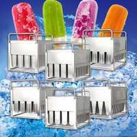 6 estilos de acero inoxidable Frozens 40 piezas helado Lolly moldes helado palo verano hogar DIY crema redondo plano del molde