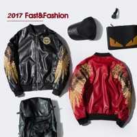 Chaquetas de piel sintética de manga larga y color rojo y negro con bordado de marca de Ropa nueva para invierno y otoño para mujer
