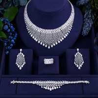 ACCKING de novia de lujo collar de Zirconia cúbica BraceletEarrings establece para las mujeres de lujo de Dubai africano piedra CZ joyería de la boda de