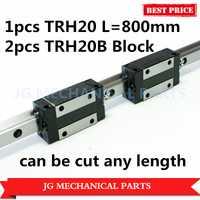 Alta Precisión 20mm guía lineal 1 piezas TRH20 L = 800mm con 2 piezas TRH20B diapositiva cuadrada bloque para fresadora CNC Router