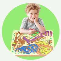 Nuevo juego de rompecabezas de madera para niños laberinto magnético de juguete para niños