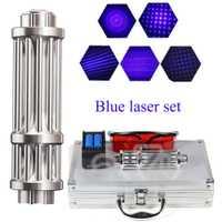 Más poderosa linterna de láser 450nm 10000 m enfocable azul punteros láser linterna quemar encuentro vela cigarrillo