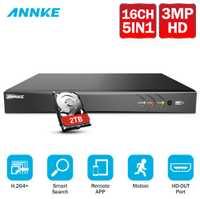 ANNKE 16CH 3MP 5in1 HD TVI CVI AHD de seguridad IP grabadora DVR H.264 + grabadora de Video Digital con detección de movimiento = HIK DS-7216HQHI-F1/N