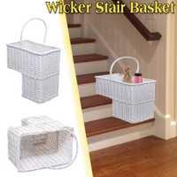 Blanco de mimbre tejida escalera paso cesta organizador elegante caja de cosméticos con mango de almacenamiento de contenedores de ropa de los niños juguetes de casa