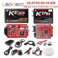 En ligne V2.47 L'UE Rouge KESS V5.017 OBD2 Gestionnaire Tuning KTAG V7.020 4 led KESS V2 5.017 BDM Cadre K-TAG V2.25 auto ECU Programmeur