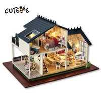 Casa de muñecas CUTEBEE casa de muñecas en miniatura DIY con muebles casa de madera juguetes para niños Regalo de Cumpleaños de Francia A032