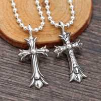 Cluci Cage pendentifs collier ras du cou S925 pur croix incrusté Zircon pendentif pour hommes et femmes avec Taiyin Version coréenne de petit