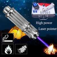 Linterna de láser 450nm 10000 m enfocable azul punteros láser linterna quemar encuentro vela cigarrillo más poderoso