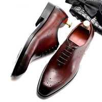 De cuero Zapatos de vestir de los hombres de negocios de los zapatos de los hombres de la marca Bullock cuero genuino negro de encaje boda zapatos para Hombre Zapatos Phenkang