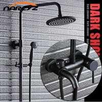 De Cobre completo negro bronce ducha con ducha americano conjunto de ducha de lluvia retro Baño XT307