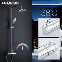 LEDEME estilo moderno cuarto de baño ducha grifo ducha de lluvia cabeza mezclador grifos ducha cascada lluvia baño grifo grifos L2410