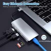 9 puertos USB C tipo C a 4 K HDMI VGA USB RJ45 SD/TF simultánea lector de tarjeta libro de Apple iMac Mac con alimentación de thundbolt3 PD