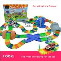 Diecast DIY gran juguete de los niños Montaña Rusa pista electrónica juguete estacionamiento coche montar el tren ferroviario coche juguete para niños
