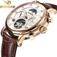 Reloj BINSSAW para hombre Reloj Mecánico Tourbillon de lujo de moda de cuero para hombre relojes deportivos reloj automático para hombre reloj Masculino