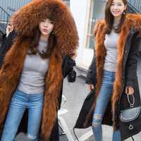 Parkas 2018 piel de zorro natural abrigo de invierno para mujer chaqueta grande de piel de mapache cuello capucha larga parka prendas de abrigo 3 en 1 marca casual nuevo