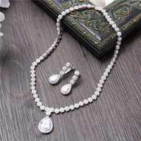 Clásico de las mujeres conjuntos de joyas de Zirconia cúbico colgante pera corte Zircon CZ piedra pendientes novia boda joyería