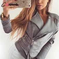 Conmoto gris sólido Chaqueta corta capa otoño chaqueta de invierno de las mujeres cuello de la calle de moda de cuero de gamuza chaqueta