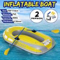 188*114CM 2 personne épaississement PVC bateau gonflable lac canot Kayak en caoutchouc bateau pompe bateau de pêche voilier avec des rames ensemble charge