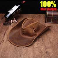 Sombreros de vaquero de cuero genuino de alta calidad para hombre sombrero americano informal retro informal de primera capa de piel de vaca visera de vaquero de ala ancha sombrero