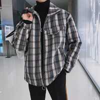 Invierno nueva chaqueta de los hombres de lana de moda celosía abrigo suelto ropa Streetwear Chaqueta Hombre prendas M-5XL