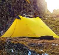 3F UL de lanshan 2 personas al aire libre ultraligero de la tienda de Camping profesional 15D de Nylon del revestimiento sin vástago tienda