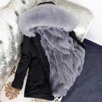 2018 Natural de piel de la Chaqueta de algodón de invierno de las mujeres de piel de conejo de parque medio larga con capucha abrigos y chaquetas de las mujeres
