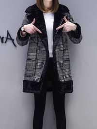 Para Mujer abrigo de invierno imitación de piel caliente casual medio-largo abrigo negro botón suelta más tamaño 2XL abrigo largo de lana las mujeres
