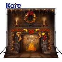 KATE Navidad telón de fondo Vintage bebé familia Backdrops Navidad chimenea telón de fondo de pared de ladrillo para estudio fotográfico