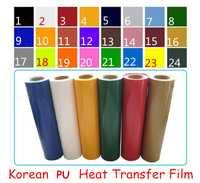 Alta calidad coreana PU de transferencia de calor de corte de película ropa revestimiento chapado película envío gratis
