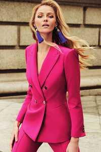 Nouveauté printemps automne femmes Blazer double boutonnage col cranté travail bureau costumes Outwear W03