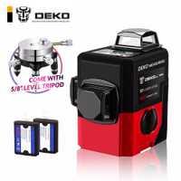 DEKOPRO LL12-HVR 12 líneas 3D nivel láser autonivelante 360 Horizontal y Vertical súper poderoso rayo láser rojo línea