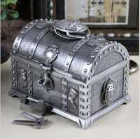 Egipcio de gran capacidad dos capas de lata de metal caja de joyería caja de anillo de metal caja de lata organizador de almacenamiento para regalo de niña z058