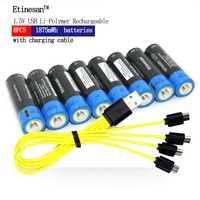 Etinesan 8 piezas 1,5 V AA 1875mWh li-polímero li-po batería recargable de litio li power USB + micro USB línea de cable de carga
