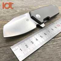 LDT Original T01 rodamientos de bolas de acero cuchillo plegable D2 hoja de titanio manija de bolsillo de supervivencia cuchillos de Camping al aire libre EDC herramienta